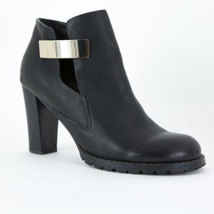 SEE BY CHLOE Black Leather Ankle Booties Silver 38